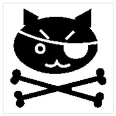 PIRATE CAT (BLK) Framed Print