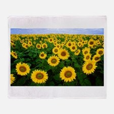 Sunflowers in field Throw Blanket