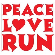 Peace Love Run - red Poster