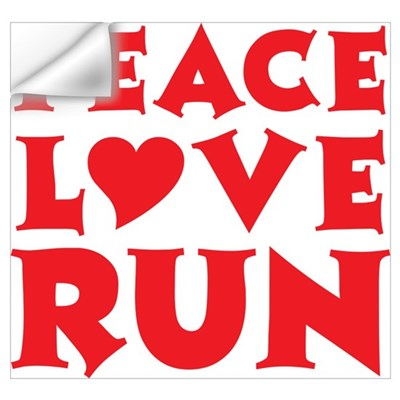Peace Love Run - red Wall Decal