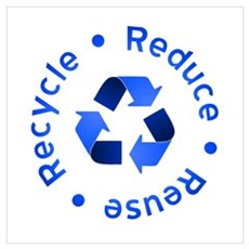 Blue Reduce Reuse Recycle Canvas Art