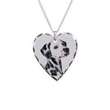 Dalmatian Necklace Heart Charm