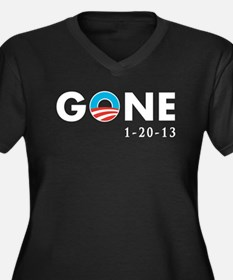 Obama Gone Women's Plus Size V-Neck Dark T-Shirt