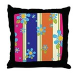 Flowers n Stripes Throw Pillow
