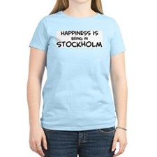 Happiness is Stockholm Women's Pink T-Shirt