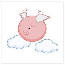 Sky Flying Pig Poster