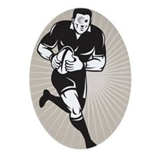 rugby player black Ornament (Oval)