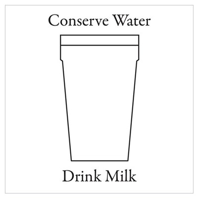 Conserve water Drink a Milk. Poster