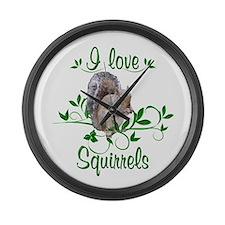 I Love Squirrels Large Wall Clock