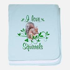 I Love Squirrels baby blanket