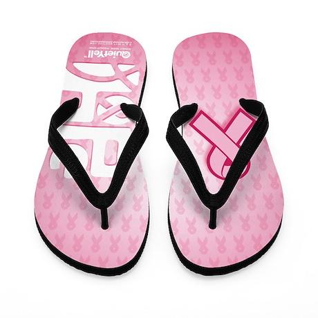 Think Hope (White/Pink) Flip Flops