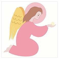 Angel in pink robe, kneeling Poster