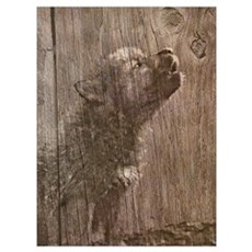 Wood Wolf Pup - Wolf Art Poster