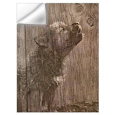 Wood Wolf Pup - Wolf Art Wall Decal