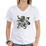 Anderson Tartan Lion Women's V-Neck T-Shirt - Scottish lion rampant with the Anderson clan tartan and a banner with the family name. - Availble Sizes:Small,Medium,Large,X-Large,2X-Large (+$3.00),3X-Large (+$3.00) - Availble Colors: White