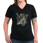 Anderson Tartan Lion Women's V-Neck Dark T-Shirt - Scottish lion rampant with the Anderson clan tartan and a banner with the family name. - Availble Sizes:Small,Medium,Large,X-Large,2X-Large (+$3.00),3X-Large (+$3.00) - Availble Colors: Black,Silver,Navy,Charcoal,Kelly,Coral,Garnet