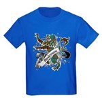 Anderson Tartan Lion Kids Dark T-Shirt - Scottish lion rampant with the Anderson clan tartan and a banner with the family name. - Availble Sizes:Kids X-Small,Kids Small,Kids Medium,Kids Large,Kids X-Large - Availble Colors: Black,Navy,Royal,Red,Purple