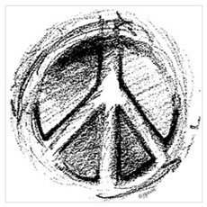Urban Peace Sign Sketch Poster