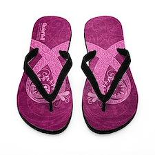 Think Pink Curly Ribbon LT Flip Flops