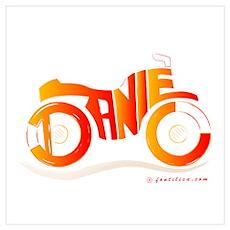 Daniel Orange and Red Bike Poster
