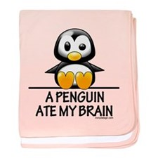 A Penguin Ate My Brain baby blanket