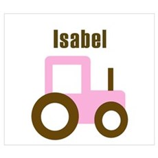 Isabel - Pink/Brown Tractor Poster