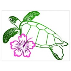 Sea Turtle w/ Hibiscus Poster