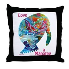 Manatees of Many Colors Throw Pillow