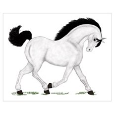 Gray Horse Black Mane Canvas Art