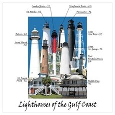 Lighthouses of the Gulf Coast Poster