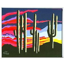 Arizona Seguaro Sunrise Poster