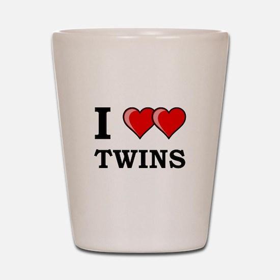 I Heart Twins Shot Glass