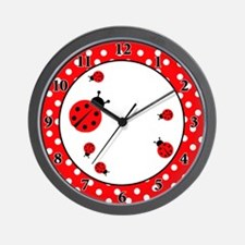 Ladybugs Wall Clock - Red / White Dot