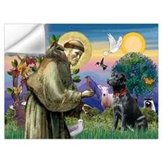 Saint Francis & Black Lab Wall Decal