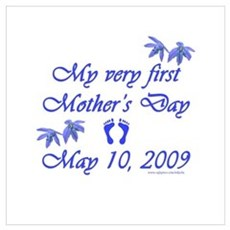 First Mother's Day 09 blue Framed Print