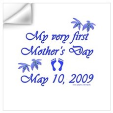First Mother's Day 09 blue Wall Decal