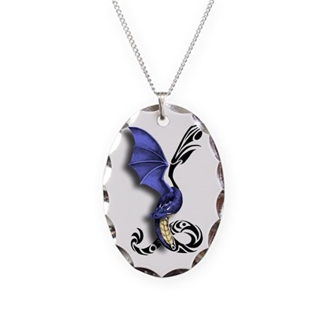 Tribal Dragon Necklace Oval Charm