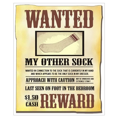 Wanted - My Other Sock Framed Print