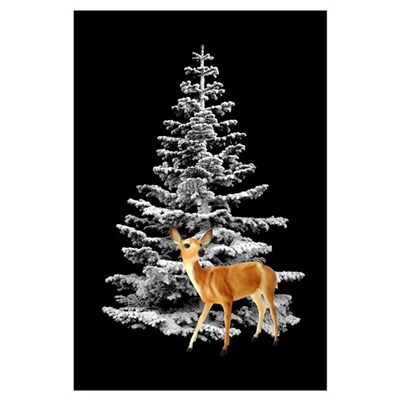 Deer by Snowy Tree Canvas Art