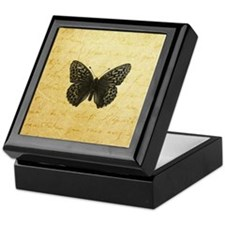 Butterfly Parchment Print Keepsake Box