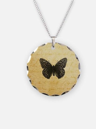 Butterfly Parchment Print Necklace