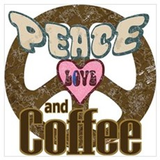Peace Love and Coffee Framed Print