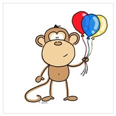 Monkey with Balloons Canvas Art