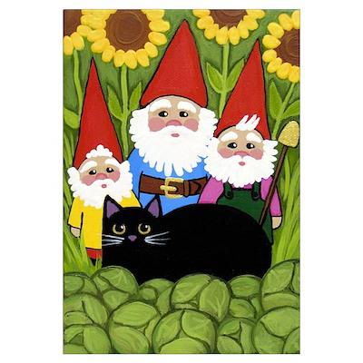 Garden Gnomes & Black Cat Poster