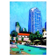 Poolside Downtown Framed Print