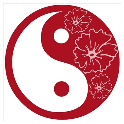 Red Floral Yin Yang Poster