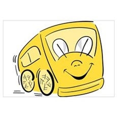 YELLOW HAPPY BUS Canvas Art