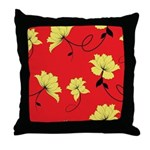 Red Yellow Floral Throw Pillow