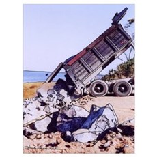 "Dump Truck with Rocks - Print -11"" X 15.25 Poster"