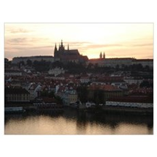 Prague Castle at Sunset Canvas Art